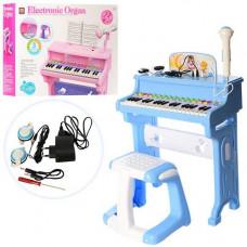 Детский синтезатор, стульчик, микрофон, наушники 8818-206AB