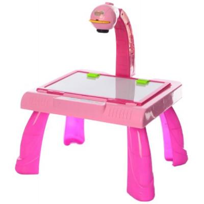 Мольберт 36х43х40см, 3в1 столик - проектор для рисования, слайды 24шт, маркеры, губка, без мелков, на бат-ке, в кор-ке (YM127 (Х))